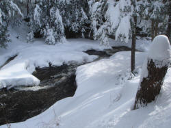 ClffSide Stream With Heavy Winter Snow